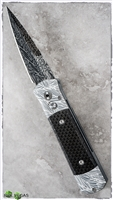 One of a kind Protech Godson laserwork done here in house at PVK with rare Thomas Eggerling Damascus Blade.