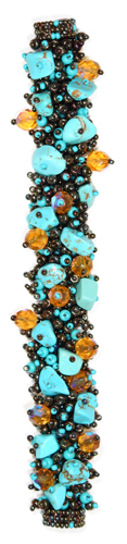 Fuzzy Bracelet with Stones - #131 Turquoise and Bronze, Double Magnetic Clasp!