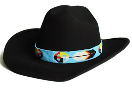 Medicine Wheel and Feather Hatband - #292 Sky Blue