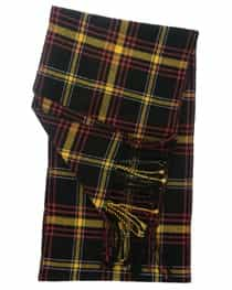 Cashmere Plaid Muffler Black and Yellow Tartan