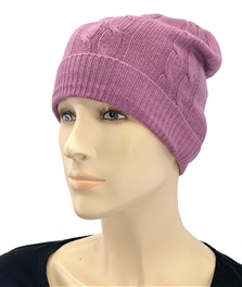 Cashmere Cable Knit Hat Midnight Lavender