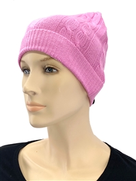 Cashmere Cable Knit Hat Pink