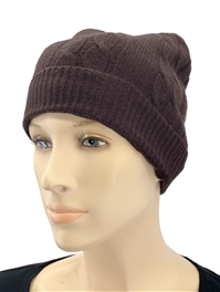 Cashmere Cable Knit Hat Dark Chocolate