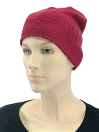 Cashmere Cable Knit Hat Cranberry