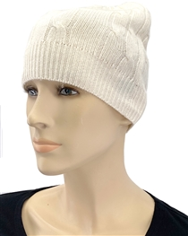 Cashmere Cable Knit Hat Natural