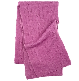 Pure Cashmere Cable Knit Scarf Midnight Lavender