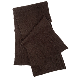 Pure Cashmere Cable Knit Scarf Dark Chocolate