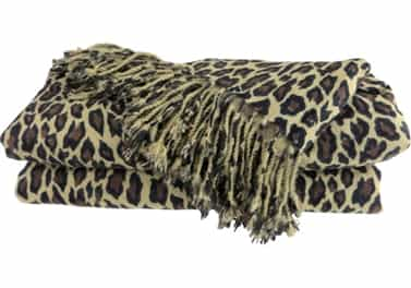 Cashmere Throw Blanket Leopard Animal Print