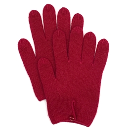 Pure Cashmere Button Gloves Cranberry