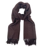 Pashmina/Silk Basket Weave Stole Dark Chocolate