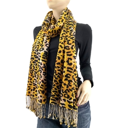 Orange Leopard Animal Pashmina