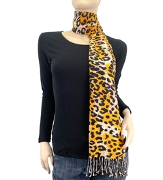 Orange Leopard Animal Print Pashmina