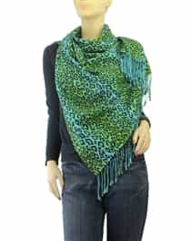 Green Leopard Animal Print Pashmina
