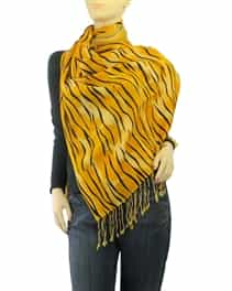 Orange Tiger Animal Print Pashmina