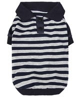 striped polo nav-gray