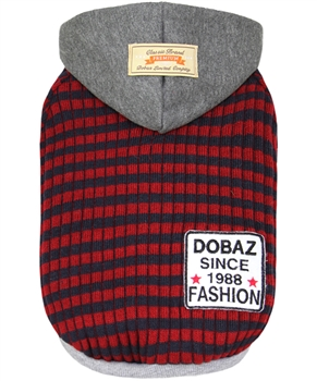 Striped Knit Hoodie Gray-Red