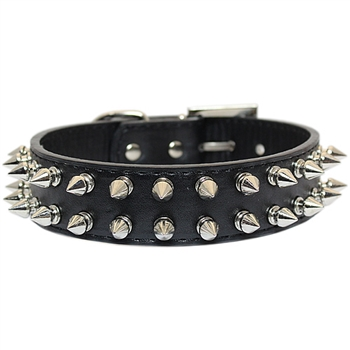 spiked collar black 2 row