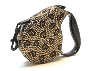 crystal rectractable leopard leash