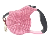 crystal rectractable pink leash