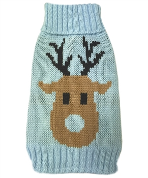 deer knit blue sweater