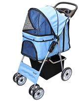 light blue pet stroller