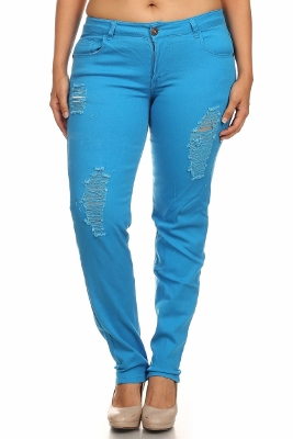 Plus Size Distress Pants COPB-D-Turq (12 pc)