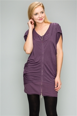 Knit Zipper Front Tunic Dress M6777-Purple(6 PC)