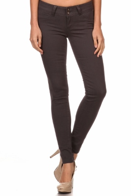 Wholesale Cotton Spandex Color Pants  NSP-105-Charcoal
