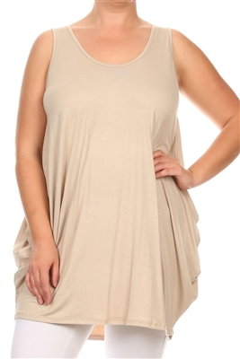 SLEEVELESS PLUS SIZE DRESSES SLD-2005X-TAUPE