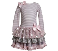 Bonnie Jean 2T-6X Drop-Waist Tiered-Skirt Dress Grey and Pink Girl's dress