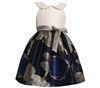 BONNIE JEAN 2T - 4T SOLID BODICE / FLORAL JACQUARD NAVY W/ BEADED TRIM ON COLLAR