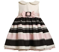 BONNIE JEAN 2T - 4T IVORY / BLACK / PINK SHANTUNG STRIPED DRESS