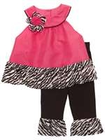 FUCHSIA /BLACK FLOCK DOT TOP W/ ZEBRA EYELSH/KNT LEGGIN