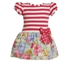 BONNIE JEAN GIRLS STRIPED TO FLORAL EYELASH RUFFLE DRESS