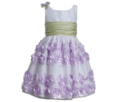 BONNIE JEAN NEW GIRLS WHITE DRESS WITH LAVENDER ROSETTES 4-6x