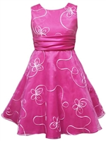 Rare Editions Fuschia / Ivory burnout dress with waist band