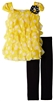 Rare Editions Girls Yellow / Black Dot Mesh to Knit Top with Leggings