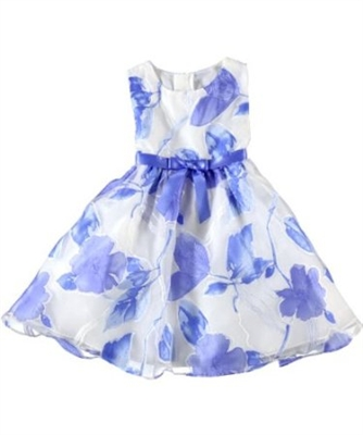 Rare Editions Girls white and blue dress