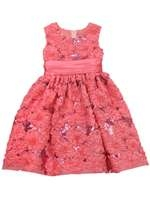 RARE EDITIONS GIRLS 2-6x CORAL MESH SOUTACHE DRESS WITH FLORAL & SEQUIN DETAILS