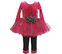 Bonnie Jean Toddler Bouquet-Appliqued Dress & Bow-Accented Leggings Set