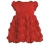 BONNIE JEAN RED SATIN FLORAL SOUTACHE DRESS 2T - 4T