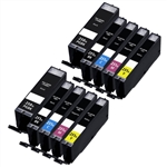 Canon PGI250 & CLI251 Compatible Set of 10 Ink Cartridges: 2 Pigment Black PGI250, 2 each of CLI251 B/C/M/Y