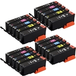 Canon PGI250 & CLI251 Compatible Set of 20 Ink Cartridges: 4 Pigment Black PGI250xl, 4 each of CLI251xl B/C/M/Y