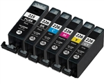 Canon PGI225 & CLI226 Compatible Set of 6 Ink Cartridges: 1 Pigment Black PGI225, 1 each of CLI226 B/C/M/Y/GY