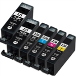 Canon PGI225 & CLI226 Compatible Set of 6 Ink Cartridges: 2 Pigment Black PGI225, 1 each of CLI226 B/C/M/Y