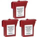 3 Pack Pitney Bowes 797-M, Compatible Red Ink Cartridge