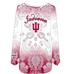 Women's PLUS Sizes Dip Dye Indiana Hoosiers 3/4 Sleeve Bedazzled T-Shirt Made in the USA