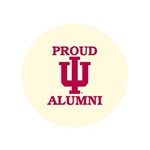 "Proud IU Alumni 2.25"" Fabric Fan Button"