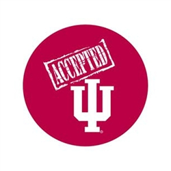 "ACCEPTED IU 2.25"" Fabric Fan Button Pin"