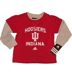 ADIDAS Toddler Hoosiers IU Indiana Thermal Layered T-Shirt
